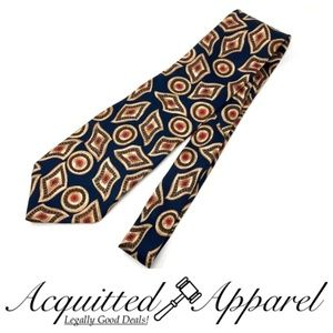 Balmain Mens Abstract Red Gold Tone Silk Tie Blue